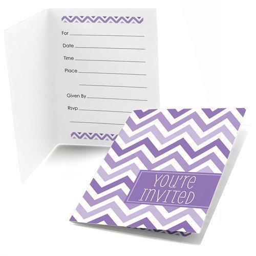 Big Dot of Happiness Chevron Purple - Fill-in Baby, Bridal Shower or Birthday Party Invitations (8 Count)