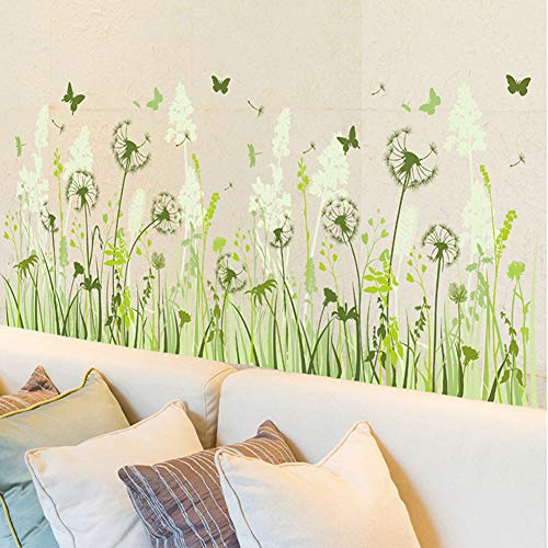 Wmdecal Removable Grass Flowers and Butterfly Vinyl Wall Decals Green Garden Wall Art Decoration Stickers for Kids ()