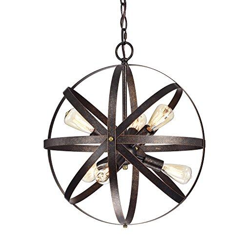 Edvivi 6-Light Style Antique Copper Pendant Orb Globe Chandelier | Modern Farmhouse Lighting