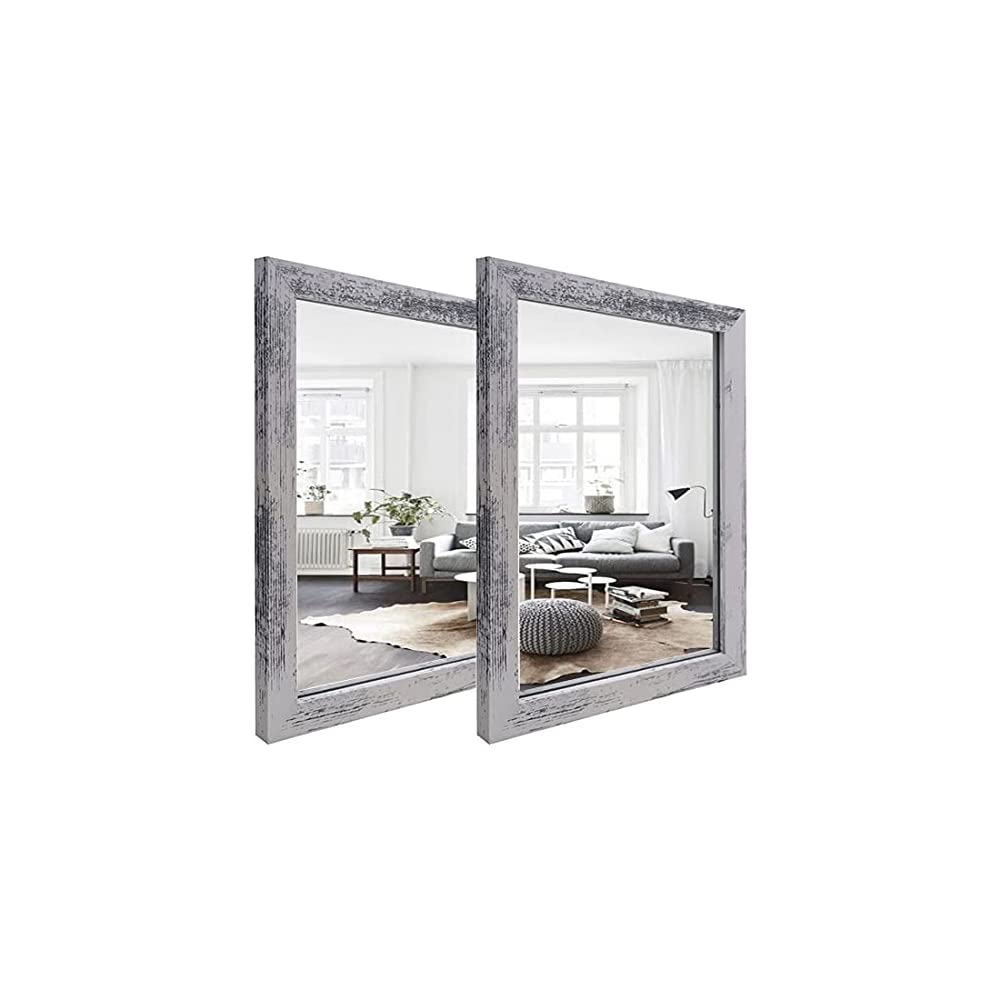 """2 PCS Decorative Rustic Wood Framed Wall Mirror,Rustic White Color Accent Mirrors,The Perfect Addition to Bedroom, Bathroom Or Entryway.(12""""x16"""")"""