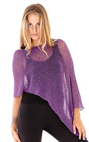 SHU-SHI Womens Sheer Poncho Shrug Lightweight Knit Purple One Size Fits Most]()