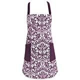 DII Cotton Adjusatble Women Kitchen Apron with Pockets and Extra Long Ties, 37.5 x 29'', Cute Apron for Cooking, Baking, Gardening, Crafting, BBQ-Damask Eggplant