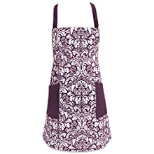 """DII Cotton Adjusatble Women Kitchen Apron with Pockets and Extra Long Ties, 37.5 x 29"""", Cute Apron for Cooking, Baking, Gardening, Crafting, BBQ-Damask Eggplant"""