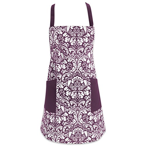 Purple Bbq Apron (DII Cotton Adjusatble Women Kitchen Apron with Pockets and Extra Long Ties, 37.5 x 29