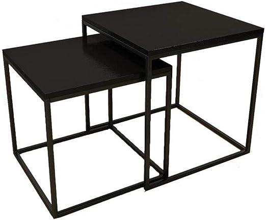 Nest of Tables Mesa de centro pequeña y pequeña de nido negro Juego de 2 mesas Combinación escalable Mesa multifuncional de extremo multifuncional para sofá Snack Mesas de noche Mesas para tabletas: