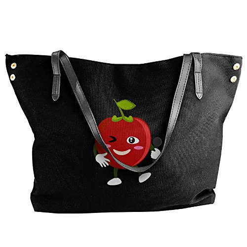 Tomato Women Handbags Canvas Hobo Cute Black Bags A Fashion Bags Handbags Tote Shoulder Large Black Capacity wq5gCgnSUE