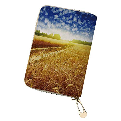 Blocking Credit Card Holder Wallet Country road in whe Printed Zipper Purse