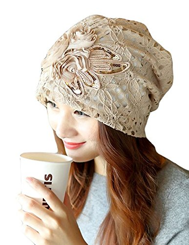 BW Women Lace Flower Head Cap Chemo Beanie Cancer Patients Hat Beigh