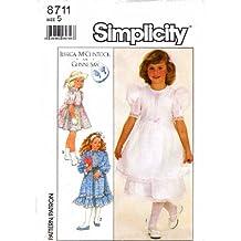 Simplicity 8711 Sewing Pattern Jessica McClintock Girls Dress Size 5