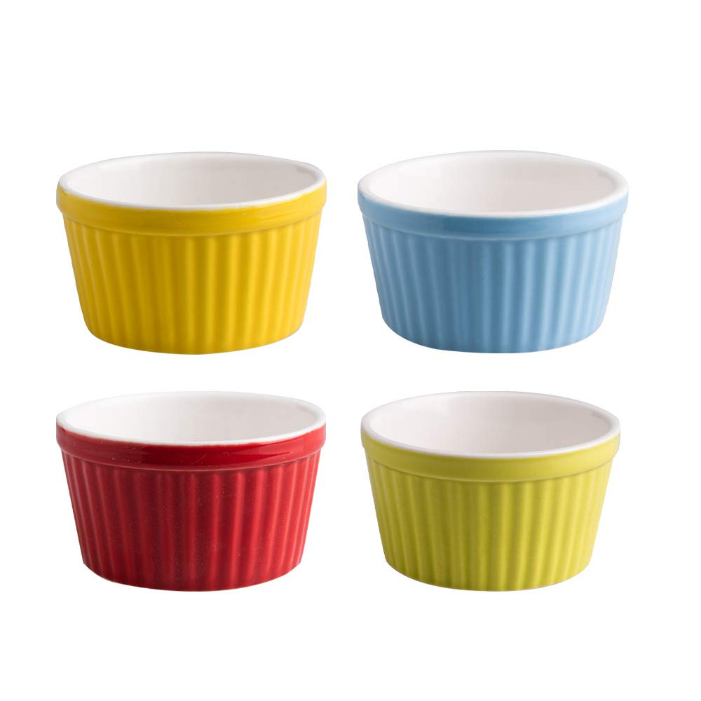 Bakerdream Souffle Dishes Creme Brulee Ramekins-6 Ounce for Souffle Porcelain Baking Cups for Dipping Sauces Ice Cream Dessert Cup, Set of 4 (4 bright colors)