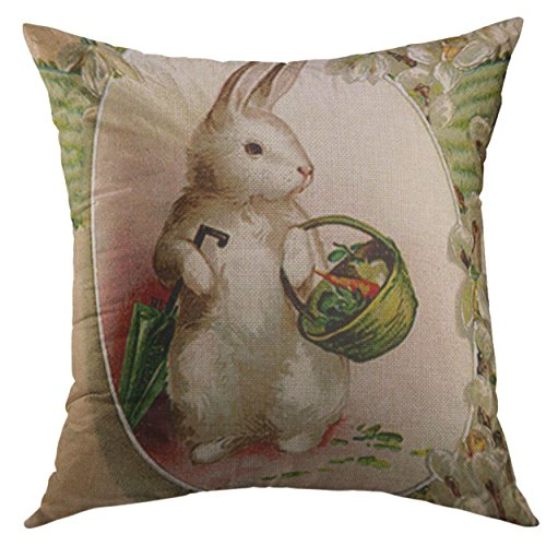 Basket Vintage Easter (Mugod Decorative Throw Pillow Cover for Couch Sofa,Vintage Easter Bunny Egg Umbrella Lily Basket Retro Home Decor Pillow Case 18x18 Inch)