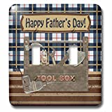 Beverly Turner Fathers Day Design - Tool Box, Hatchet, Drill, Hammer, Wrench, Pliers, Happy Fathers Day - Light Switch Covers - double toggle switch (lsp_239591_2)