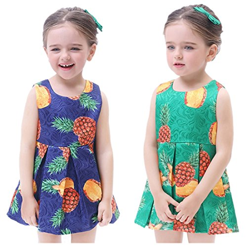 vermers Children Dresses - Infant Girls Pineapple Sleeveless Zipper Princess Dress Clothes(5T, Blue) (Portrait Collar Cardigan)