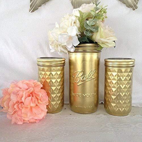 Metallic Gold Mason Jars, Makeup Brush Holder, Set of 3 -