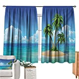 Warm Family Island Country Curtain Illustration of Desert Island with Exotic Tree and Skyline Paradise Rest Turquoise Cream Green Doorway Curtain W63 x L72