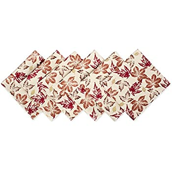 """DII 100% Cotton, Oversized Basic 20x20"""" Printed Napkin For Fall, Holidays, Buffets, Parties, Special Occasions, or Everyday Use - Set of 6, Rustic Leaves"""