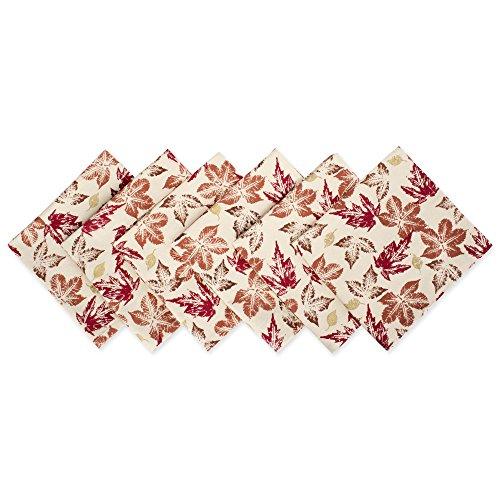 DII 100% Cotton, Oversized Basic 20x20 Printed Napkin For Fall, Holidays, Buffets, Parties, Special Occasions, or Everyday Use - Set of 6, Rustic Leaves