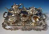 HAMPTON COURT BY REED & BARTON STERLING SILVER TEA SET 5-PC + PLATED TRAY #1055