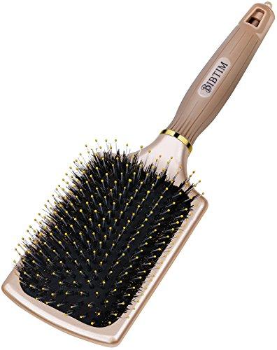 BIBTIM Natural Boar Bristles Paddle Hair Brush for Men Women & Kids, Detangling Cushion Brush for Straightening & Smoothing Hair, Adds Shine and Improves Hair Texture (GOLD) (Silicon Hair Brush Cushion)