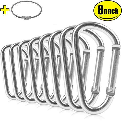 "ZEINZE Carabiner Clip 3"" Aluminum D-Ring Spring Loaded Gate Small Keychain Carabiners Clip Set for Outdoor Camping Mini Lock Hooks Spring Snap Link Key Chain Durable Improved Design 8 Pack (Silver)"