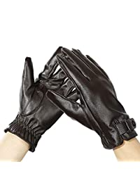 TOUGS Women Winter Leather Gloves for Driving Texting | Warm Lined Touch Screen Gloves | Elastic Wrist Strap | Waterproof