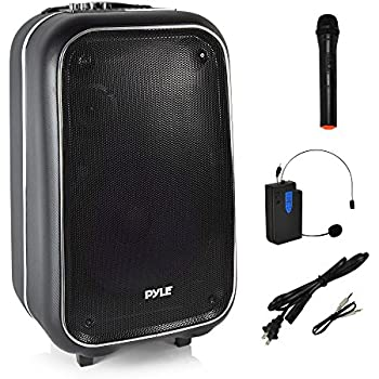Pyle Portable PA Speaker | Wireless Bluetooth Karaoke System, Wireless Microphone , Built-In Rechargeable Battery | Portable Carry Wheels | FM Radio | USB ...