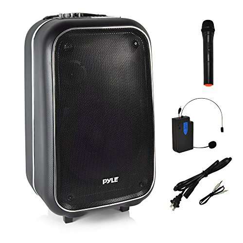 New Pyle Portable PA Speaker | Wireless Bluetooth Karaoke System, Wireless Microphone , Built-In Rec...