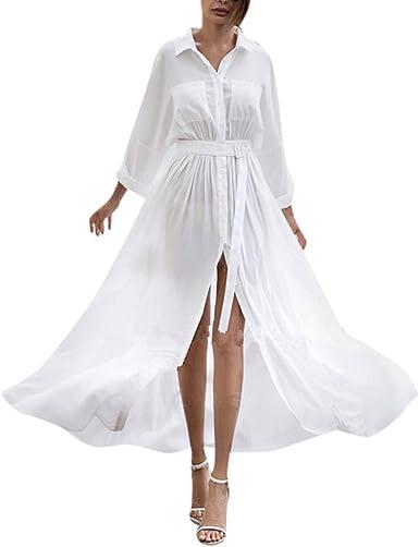 Overdose Maxi Vestido de la Mujer Camisa de Manga Larga Transparente botón Falda Solapa Playa Blusa Blanco Bolsillo de Cintura Alta Casual Suelta Sexy Falda: Amazon.es: Ropa y accesorios