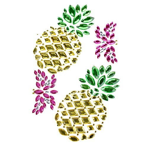 (Homeford Tropical Pineapple Rhinestone Gem Art Stickers, 4-Piece)