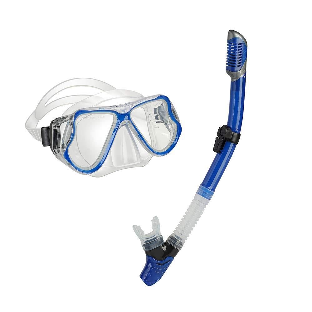 yiikii Snorkel Set for Adults Anti-Fog Anti-Leak Panoramic View Free Breathing Dry Top Snorkel Set with Travel Bag (Blue)