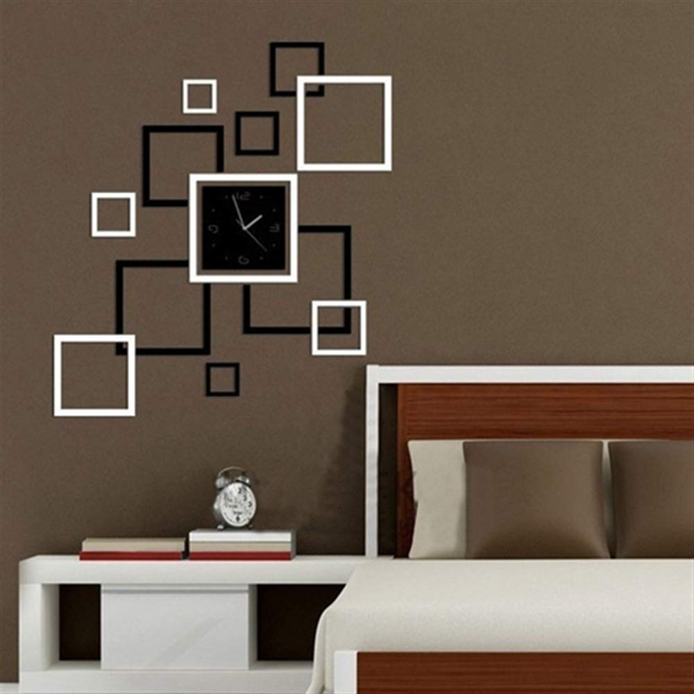 Wanrane Creative Square 3D Wall Clock,3D Acrylic Mirror Wall Sticker Quartz Clocks Square Watch Large Home Decor