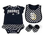 Outerstuff San Diego Padres Girls Baby Clothing, 3 Piece Creeper Bib Booties Apparel Set