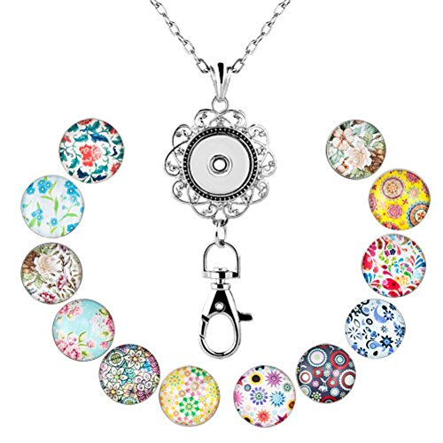 (Q&Locket Fashion Lanyard Office Womens ID Badge Holder Locket Necklace with 12pcs Snap Button Charm (12 Flowers Snap Charms))