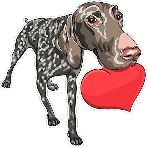 - Dog German Shorthaired Pointer heart 5x5 inches man's best friend puppy animal america united states murica color sticker state decal die cut vinyl - Made and Shipped in USA