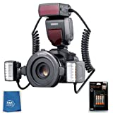 Yongnuo YN24EX Macro Flash Speedlite TTL 2pcs Flash Head + 4pcs Adapter Rings + High power rechargeable battery and rapid charger With A&R Cleaning cloth