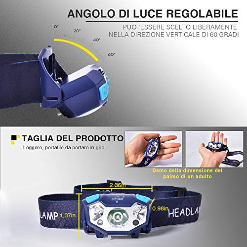 LED Head Torch, LETOUR Rechargeable Head Torch Lightweight Gesture Sensing 5 Modes, IP65 Waterproof 350LM USBHeadTorch for Camping, Hiking, Jogging, Fishing, DIY
