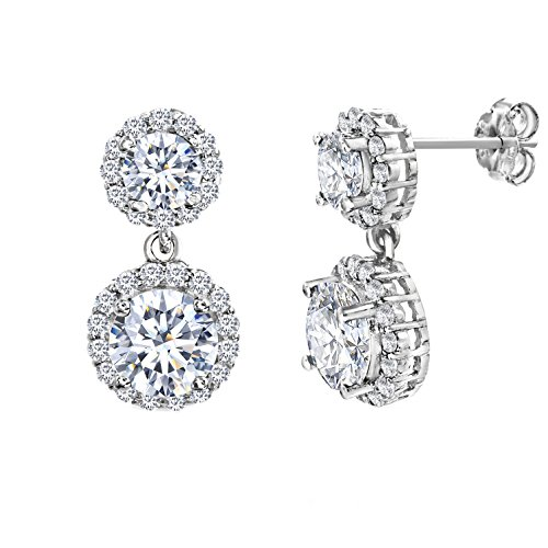 MIA SARINE Cubic Zirconia Round Double Halo Dangle Earrings for Women in Rhodium Plated Sterling Silver ()