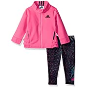 adidas Baby Girls' Zip Jacket and Pant Set, Solar Pink Jog, 6M