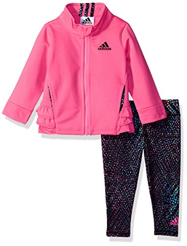adidas Baby Girls Zip Jacket and Pant Set, Solar Pink Spec, 18M Infant Toddler Pink Apparel