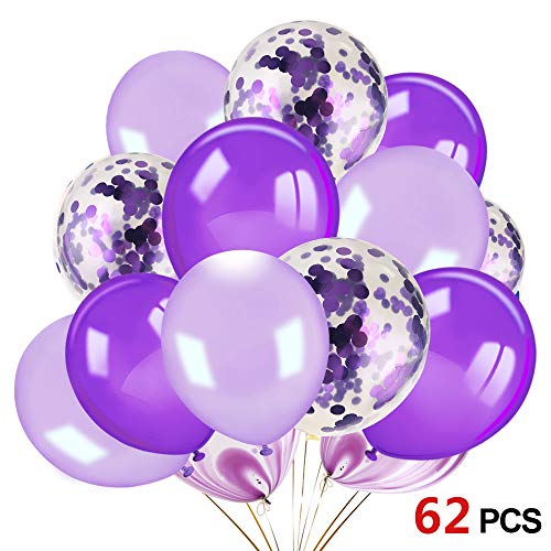 Konsait 60pcs 12 Inch Purple and White Balloons Confetti Balloons Latex Balloons for Birthday Party Decoration Girls Baby Shower Decorations Wedding Ceremony Princess Party]()