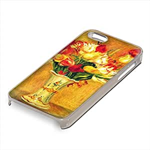 Renoir - Tulips In A Vase, Custom Claro PC Ultradelgado Caso Duro Carcasa Funda Protección Tapa Hard Case Cover Shell con Diseño Colorido para Apple iPhone 5 5S.