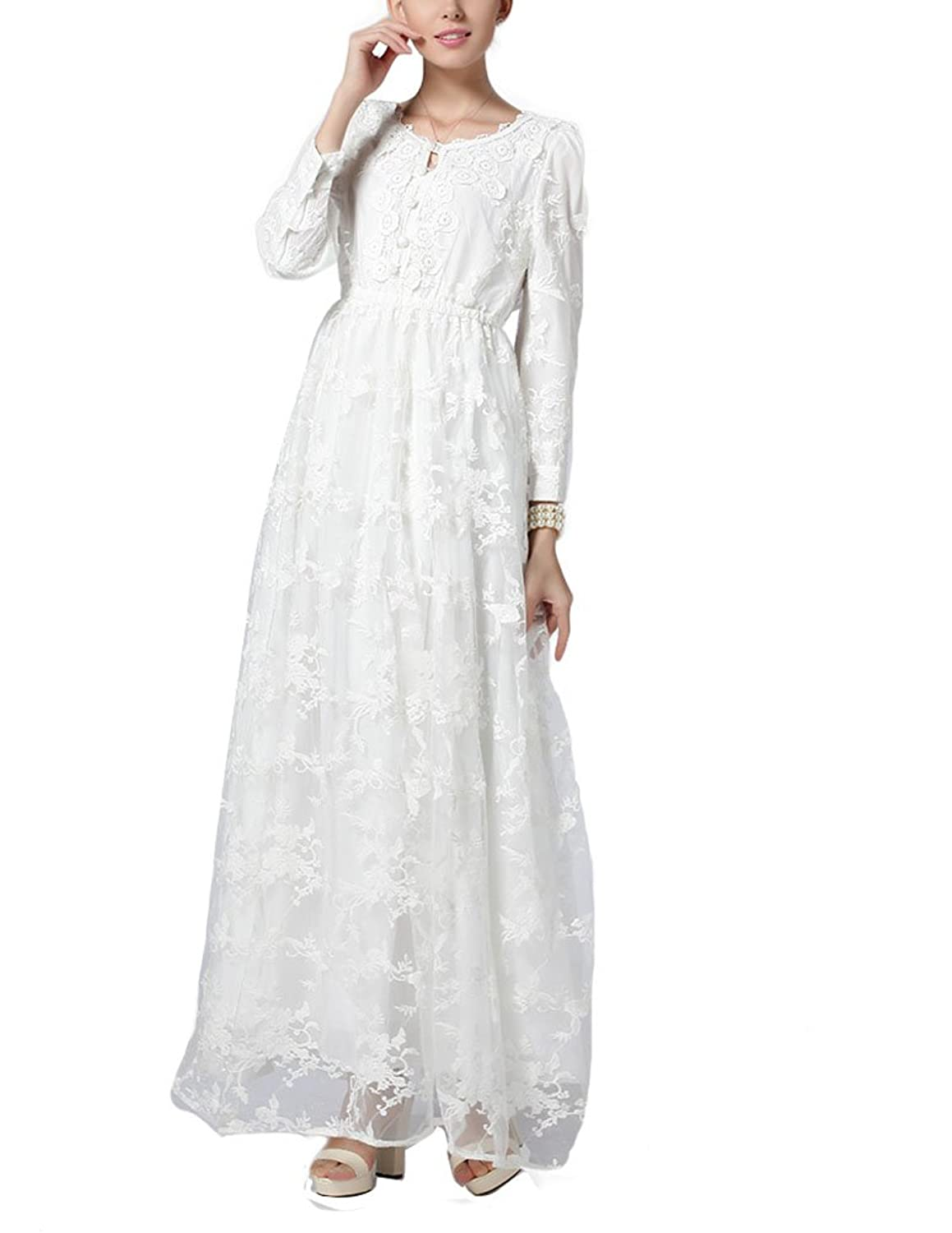 Edwardian Style Wedding Dresses Three Layers Crochet Embroidery Craft Lace Wedding Dress LYQ0156 $49.99 AT vintagedancer.com