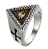 ALEXTINA Men's Stainless Steel All Seeing Eye of God Signet Ring with CZ Stone Double Carved Cross