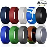 Nanafast Silicone Wedding Ring For Men 10 Pack Comfortable Antibacterial Silicone Wedding Band for Men Athletes A Size 12