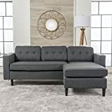Windsor Living Room   2 Piece Chaise Sectional Sofa   Scandinavian, Mid Century Design   Dark Grey Fabric