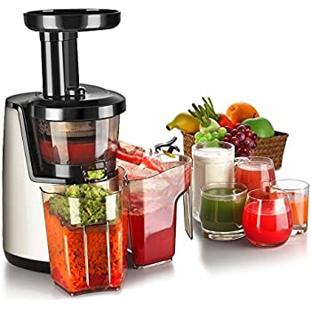 Slow Juicer With Salad Maker : Amazon.com: vonShef Professional Slow Fruit vegetable Masticating Juicer Machine with Quiet 200W ...