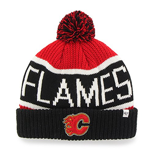 ('47 NHL Calgary Flames Calgary Cuff Knit Hat, One Size, Red)