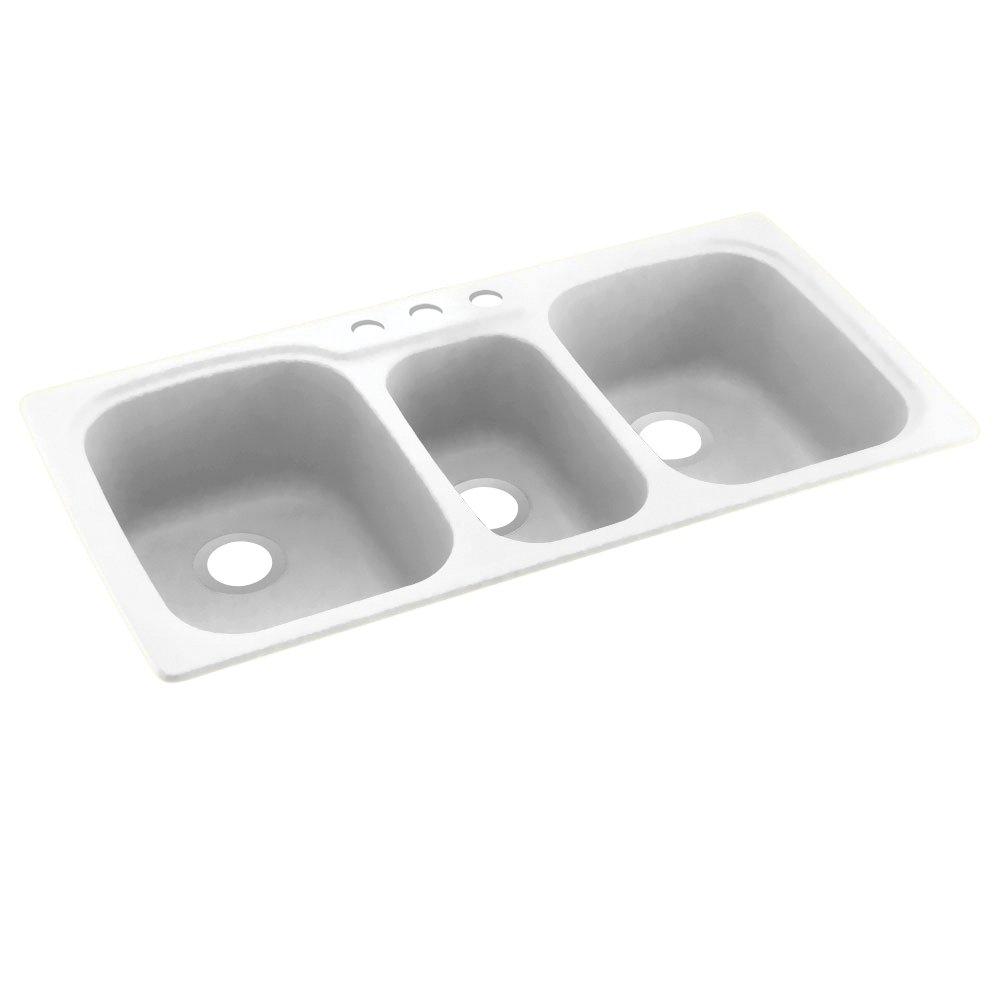 Swanstone KS04422TB.011-3 3-Hole Solid Surface Kitchen Sink, 44'' x 22'', Tahiti White