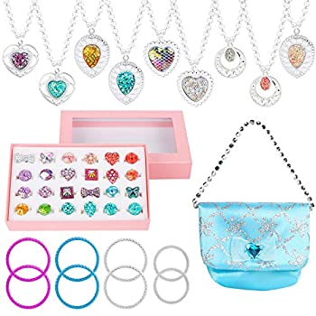 WATINC 42Pcs Princess Faux Jewellery Toy Lady's Jewellery Gown Up Play Set Included Blue Shiny Purse Necklaces Adjustable Diamond Rings Bracelets for Little Women Simulation Toy
