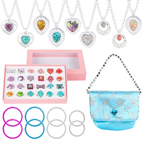 WATINC 42Pcs Princess Pretend Jewelry Toy Girl's Jewelry Dress Up Play Set Included Blue Shiny Handbag Necklaces Adjustable Diamond Rings Bracelets for Little Girls Simulation Toy